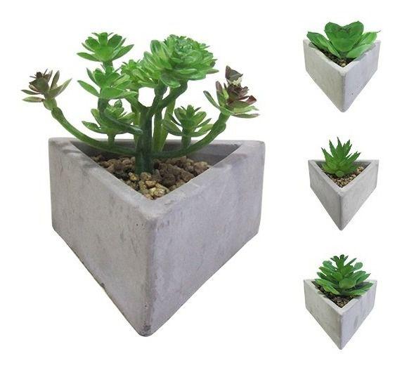 Flor Artificial Suculenta + Vaso Cimento Triângulo Vasinho