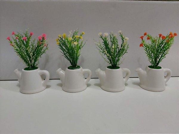 Jardineira Vaso Regador Ceramica Com Flores Artificiais