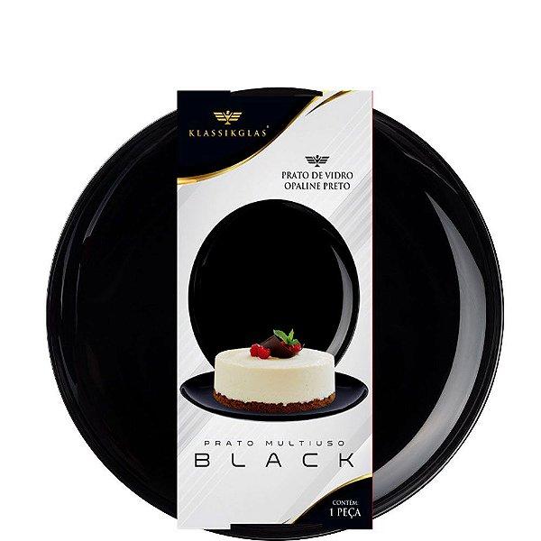 Prato Multiuso de Vidro Opaline Preto Black Klassikglass