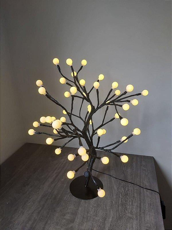 Luminária Árvore Flor Cerejeira 48 Led Abajur Bolinha Quente