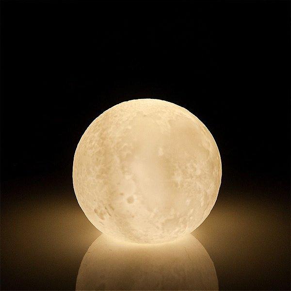 Luminária Abajur Led Relevo Lua Cheia 10cm Enfeite Decoração