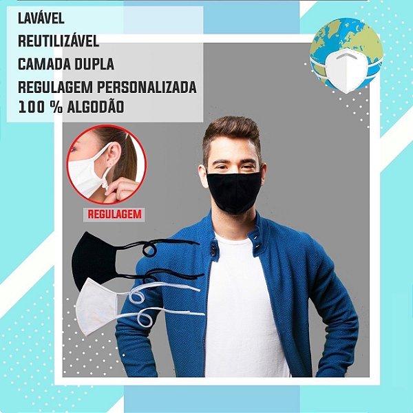 Kit com 5 Mascaras de Tecido 100% Algodão Lavável Regulavel Branca, Preta ou Azul
