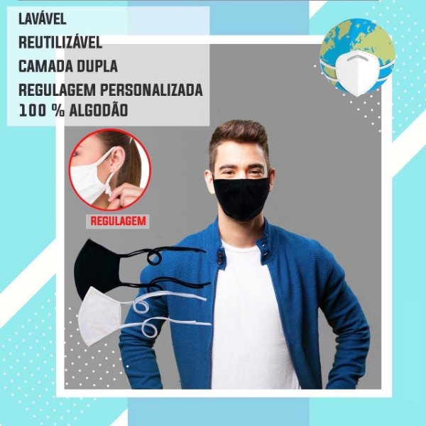 Mascara de Tecido 100% Algodão Lavável Regulavelo Branca