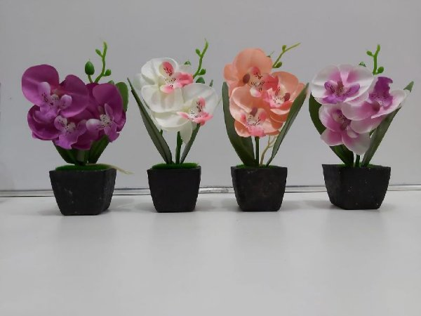 Mini Arranjo Orquídea Artificial + Vaso Vasinho