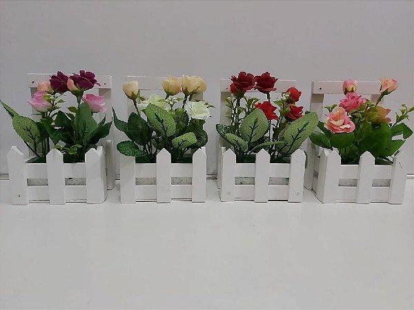 Vaso Com Flor Artificial Vasinho Cerca Cerquinha Madeira