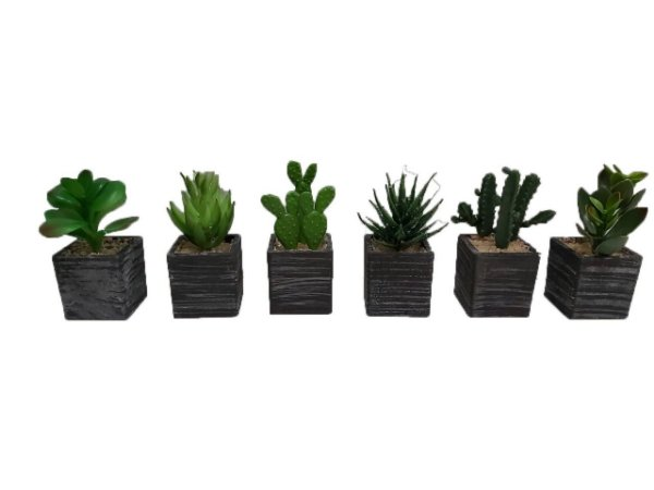Kit 3 Plantas Mini Suculentas Artificiais Vaso Preto