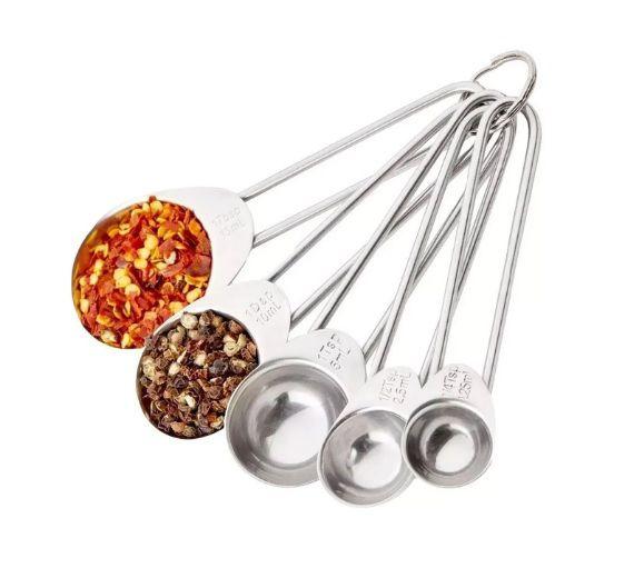 Kit Colheres Medidoras 5 Peças Inox Medidas Cozinha