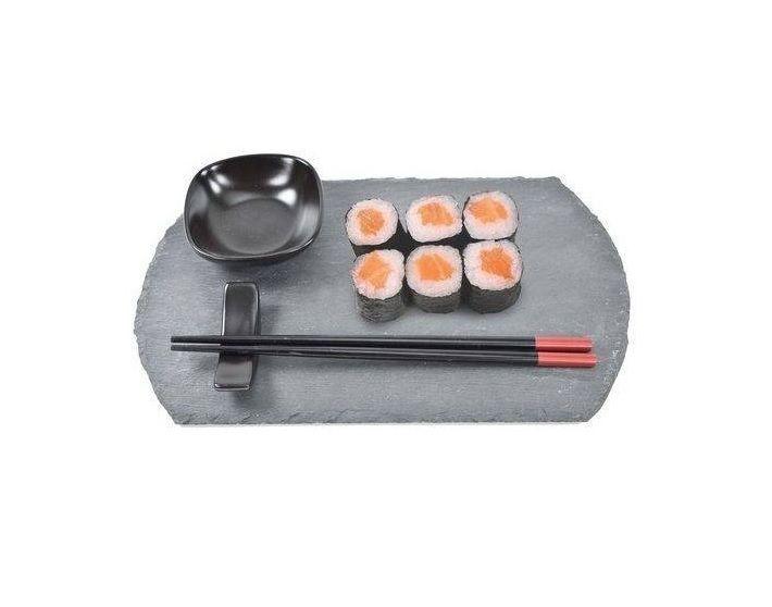 Kit Jogo Sushi Sashimi 4 Peças Bandeja Em Ardósia Hashi Bowl