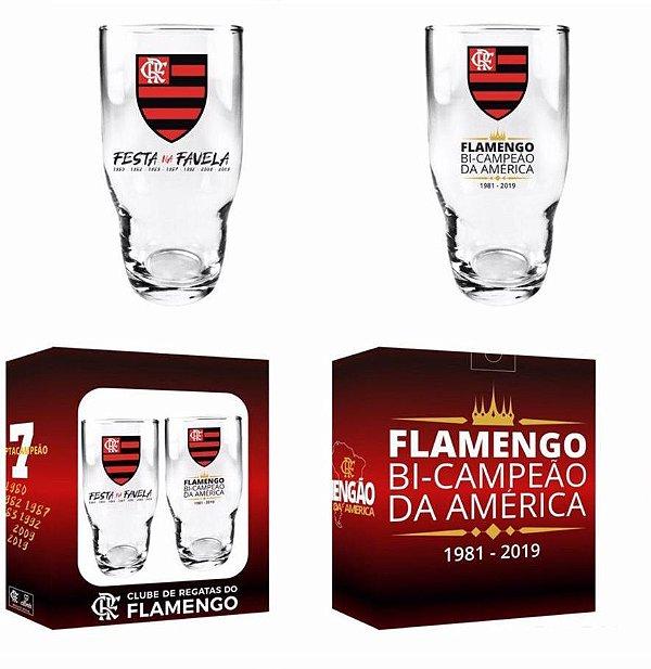 Conjunto 2 Copos Flamengo 410ml - Comemorativo Bi da America