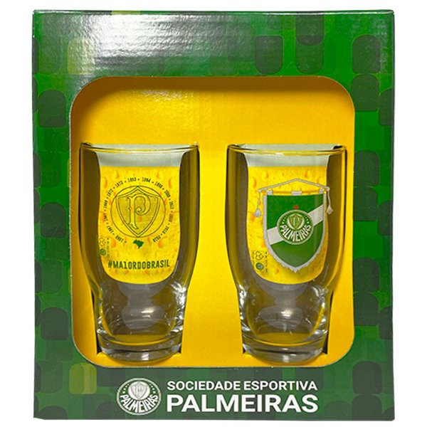 Kit 2 Copos Draft Palmeiras Porco - 410ml - Deca