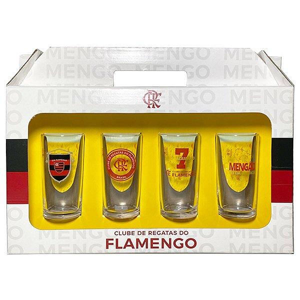 Conjunto 4 Copos Vidro Long Drink Flamengo Mengao - Historia 300ml Licenciado