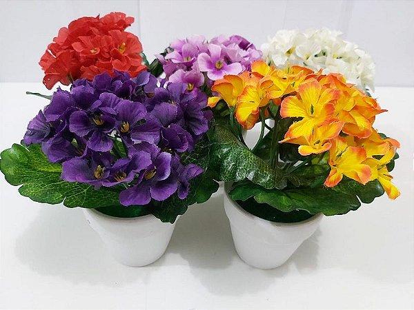 Vaso / Vasinho De Cerâmica Com Flor Artificial Super Natural