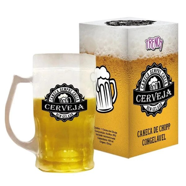 Caneca 450ml Congelável Cerveja Gelada Cs95 Trendy