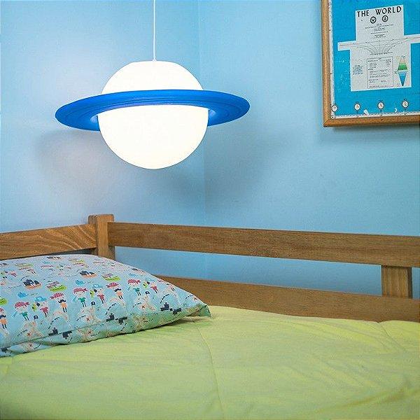 Luminária Pendente Infantil Bebê Menino Planeta Saturno Azul