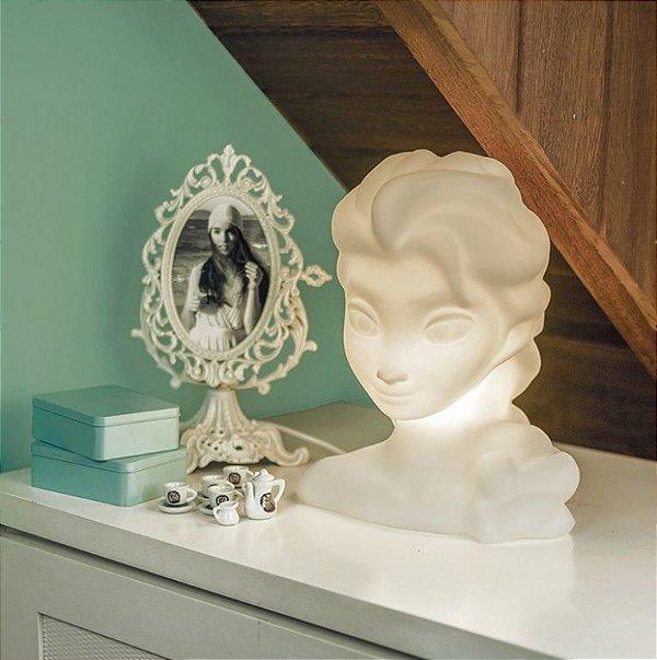 Luminária Abajur De Mesa Decorativa Princesa Elsa Frozen