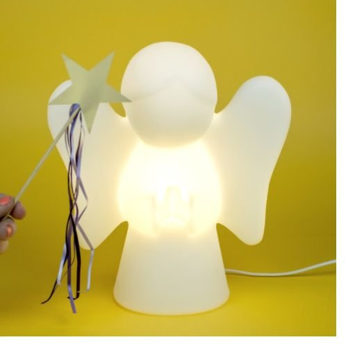 Luminária De Mesa Quarto Bebê Anjinho Anjo Da Guarda Branco