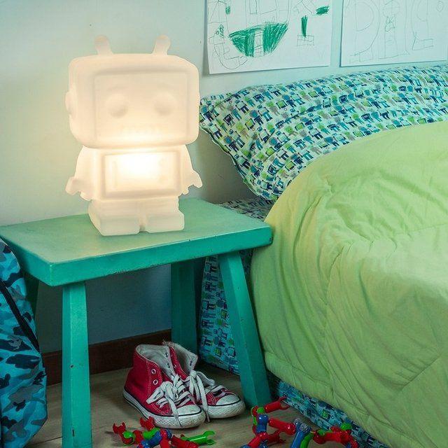 Luminária Abajur Robô Branco Natural Boneco Usare