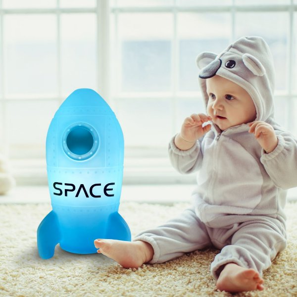Luminária Abajur Space Ship Rocket Foguete - Azul
