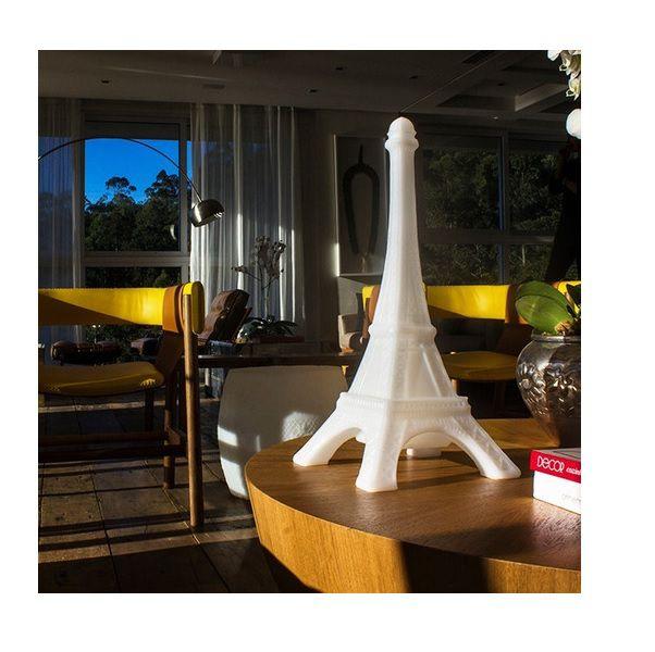 Luminária Abajur Torre Eiffel Paris França Branca Usare