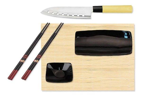 Jogo 6 Peças Para Sushi Comida Japonesa Em Bambu