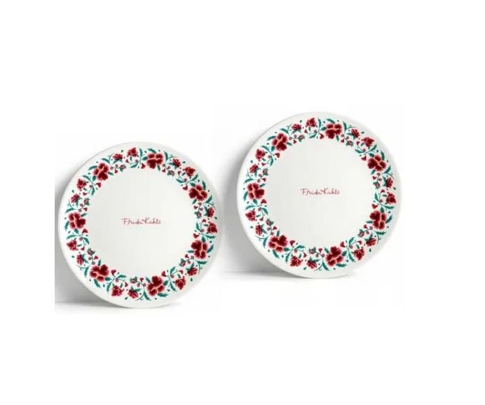 Jogo 2 Pratos Porcelana Jantar Frida Kahlo Flowers Signature