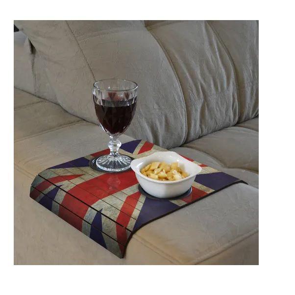Esteira Braço Sofá Reuno Unido - Inglaterra Flexível C/ Porta Copo Madeira