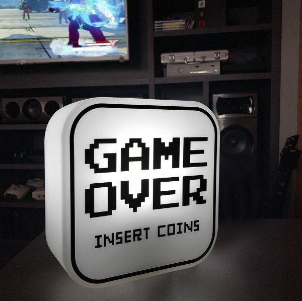Luminária Abajur Game Over - Gamer Geek Mesa Parede Decorfun