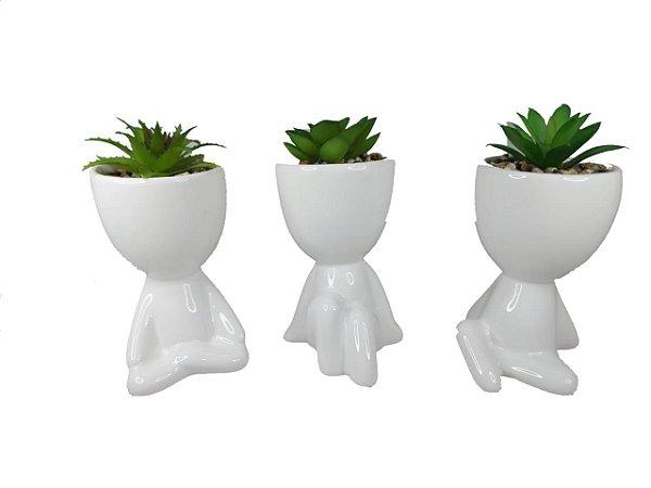 1 Vaso Decorativo Robert Plant Com Suculenta Bbb - Bob Branco