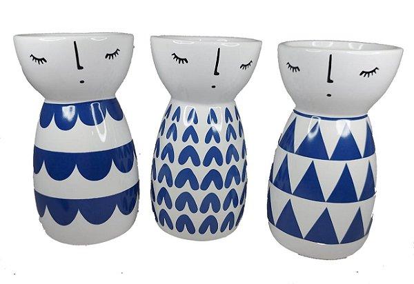 Vasinho Bonequinha Chinêsa Decorativo P/ Suculenta - Vaso Azul