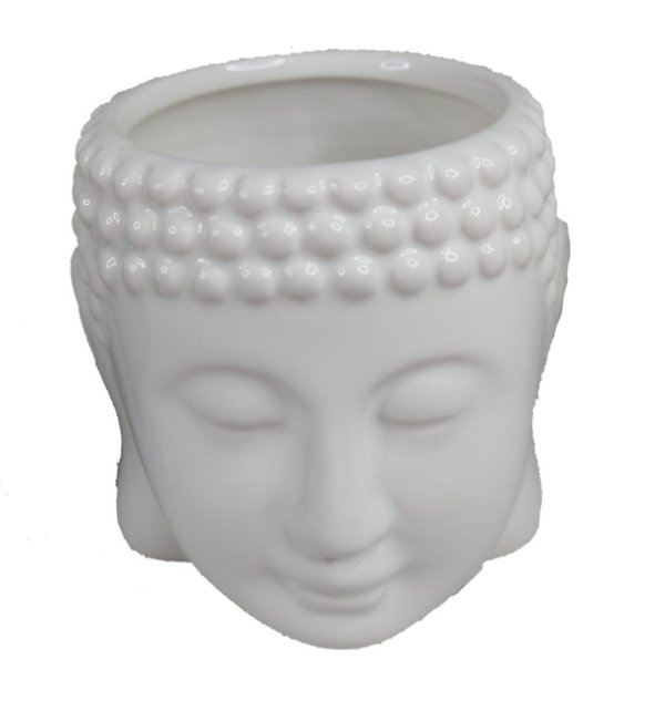 Vaso / Cachepot |De Buda Em Cerâmica Branco Decorativo - Vasinho Zen