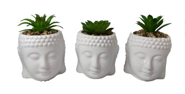 Kit 3 Vasinhos Vaso /cachepot Buda De Cerâmica + Suculenta