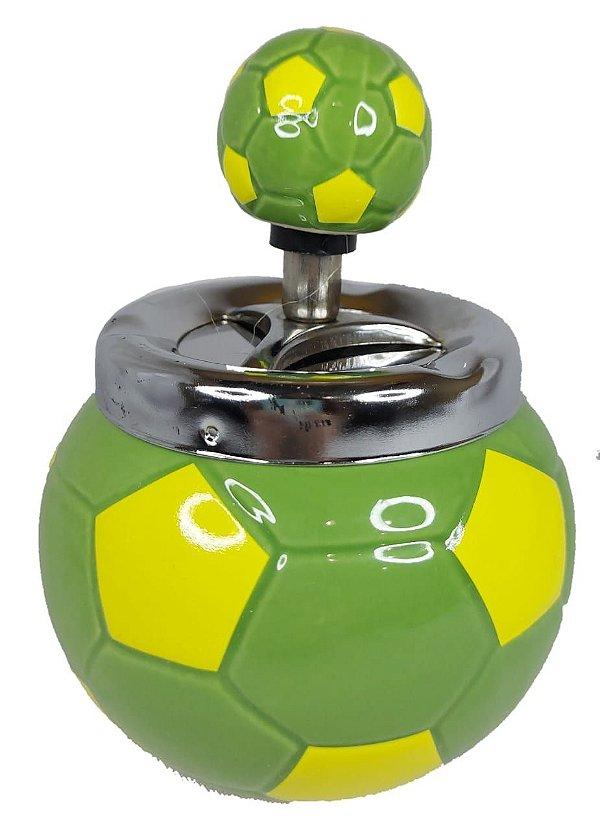 Cinzeiro De Cerâmica C/ Tampa Giratória Bola De Futebol Verde
