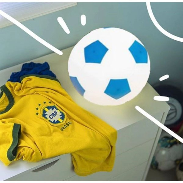 Abajur Infantil Luminária Bola De Futebol Quarto Bebê Menino - Branco Com Azul
