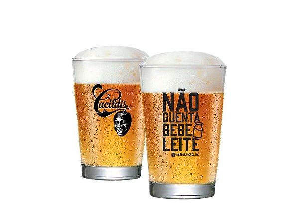 Copo De Cerveja Caldereta Cacildis Vidro 300ml - Não Guenta Bebe Leite
