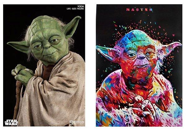 Kit 2 Quadros Decorativo Mestre Yoda Star Wars 28x20 Cm