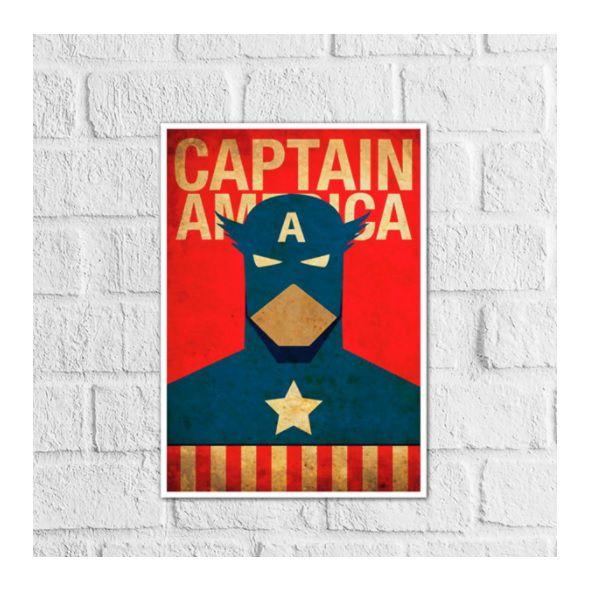 Placas Decorativa 28x20cm Mdf Capitão América