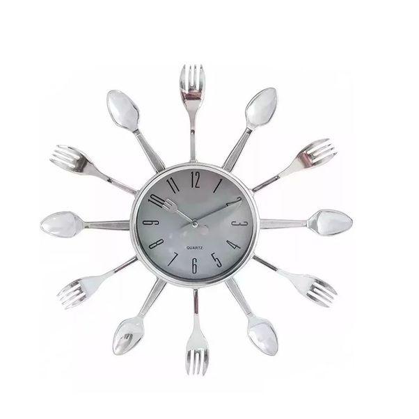Relógio De Parede Talheres P/ Cozinha Prata 38cm Cheff