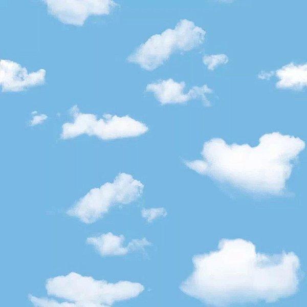 Papel Parede Quarto Criança Bebê Nuvem Céu Fofo 5mts