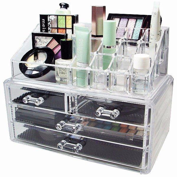 Organizador Porta Maquiagem Em Acrílico Para Pincel Batom - 4 Gavetas