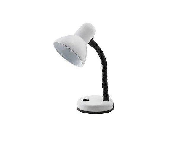 Abajur / Luminária De Mesa P/ Leitura Flexível - Articulável Branco