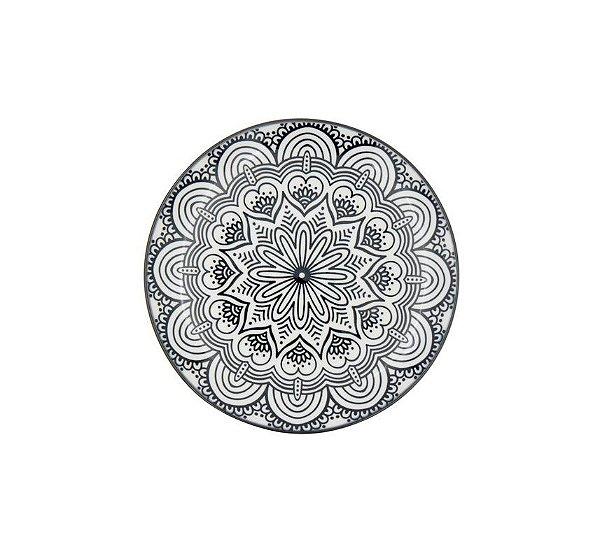 Prato Decorativo Porcelana Symmetric Mandala Preto Urban