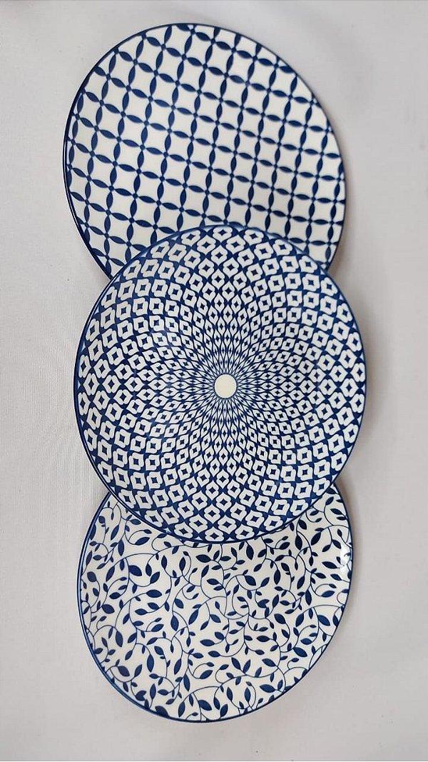 Kit C/ 3 Pratos Decorativos De Porcelana Azul Urban