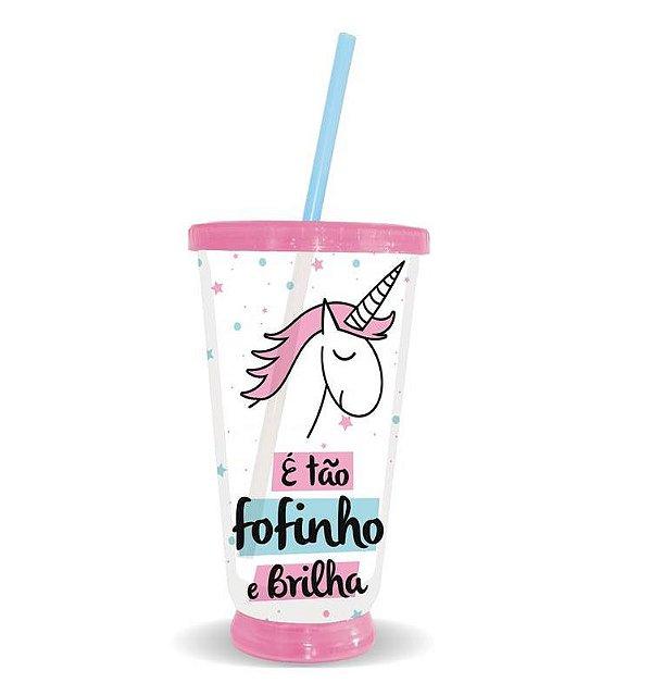 Copo Unicornio Fofinho Que Acende E Pisca 500ml C/ Canudo
