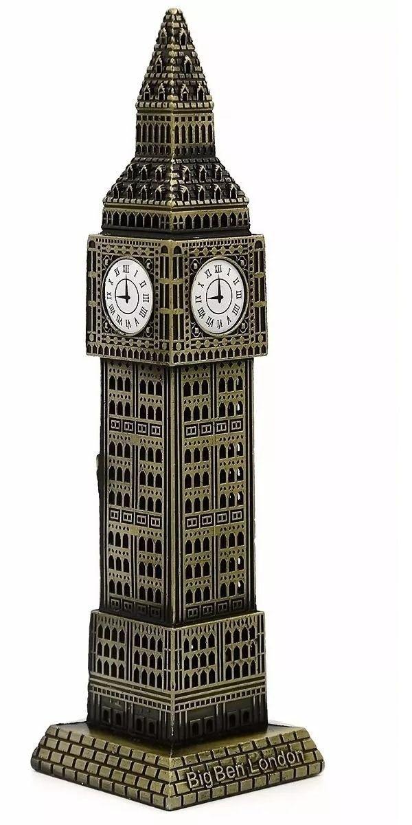 Miniatura Torre Big Ben Londres Metal 18cm London Relógio Decoração
