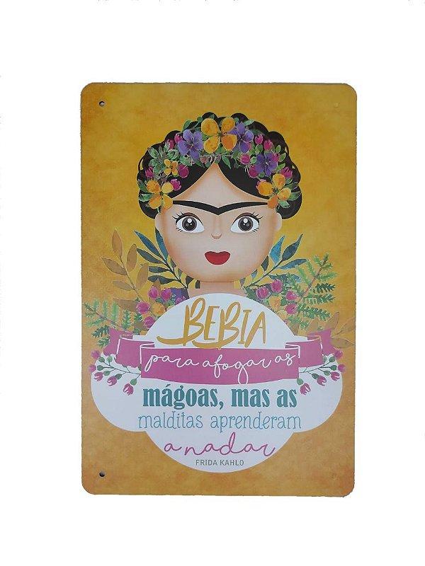 Placa Decorativa Em Mdf Frida Kahlo Amarelo Quadro / Quadrinho Decoração