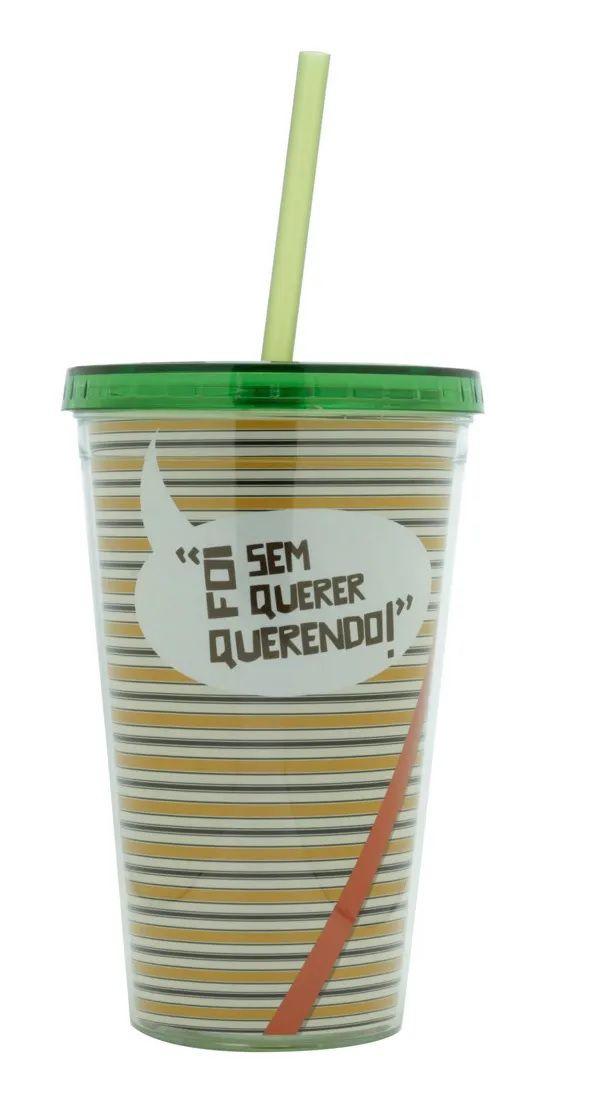 Copo Com Canudo Turma Do Chaves 500ml - Roupa