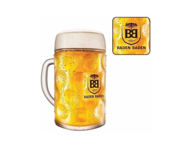 Caneca De Vidro Cerveja Chopp Baden Baden 1 Litro
