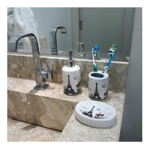 Conjunto Porta Sabonete E Escova Para Banheiro E Lavabo - Paris