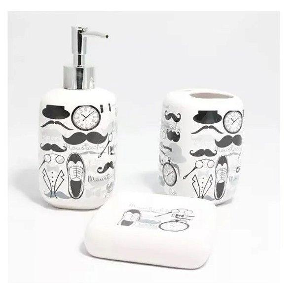 Conjunto Porta Sabonete E Escova Para Banheiro E Lavabo - Mustache Bigode