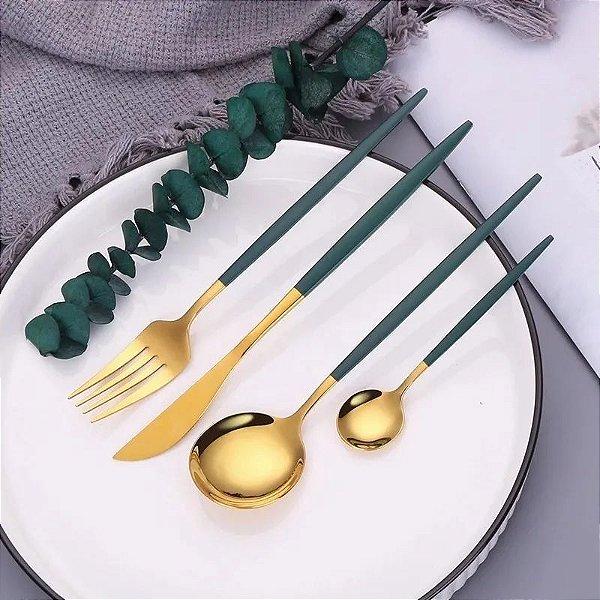 Conjunto De Talheres Luxo Aço Inox Dourado Com Verde Jantar